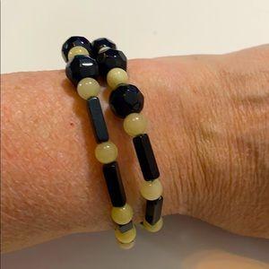 Onyx and White Quartz Bracelet OSFM NWOT